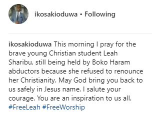 Dapchi Girls: Toke Makinwa, Ik Osakidowua and Daddy Freeze react to the withholding of Leah Sharibu who refused to denounce Christianity