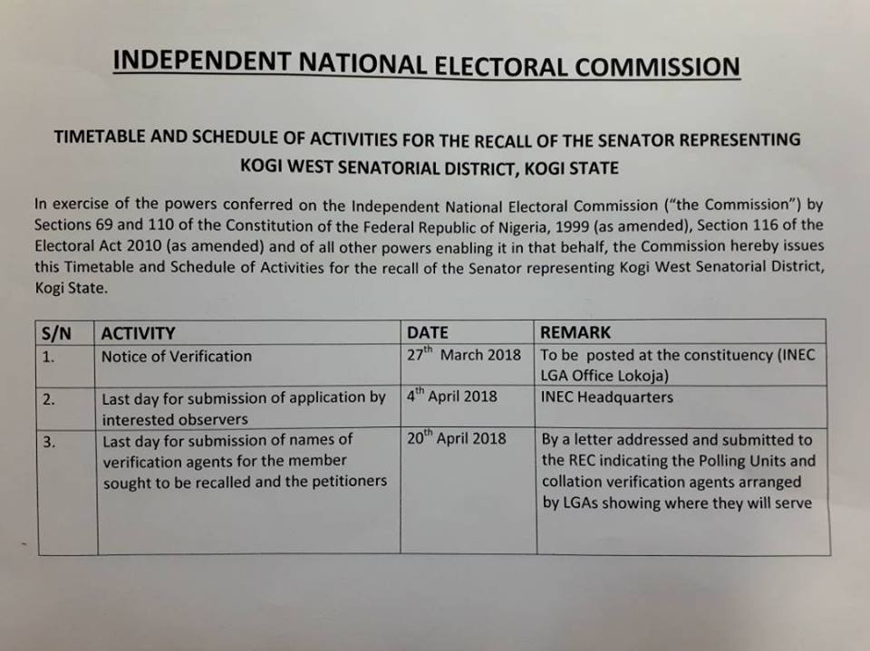 INEC releases timetable for Dino Melaye
