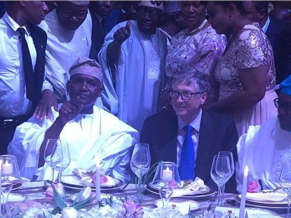 Caption this photo of Tinubu, his wife, Dangote and Bill Gate