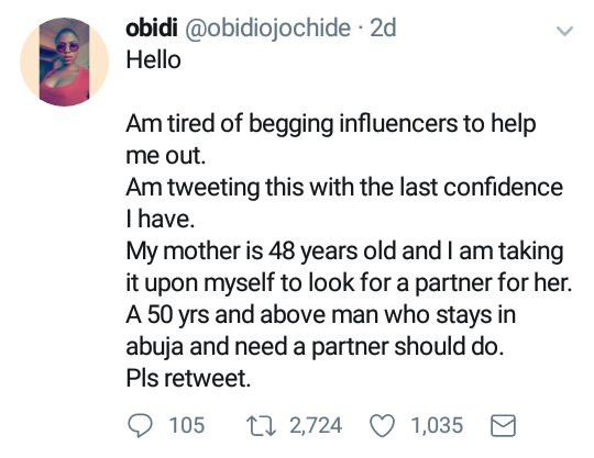 This woman is searching on Twitter for a husband for her 48-year-old mother