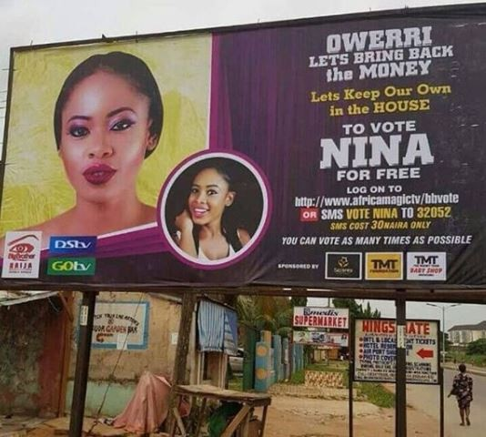 Fans of #BBNaija housemate, Nina erect giant billboard for her in Imo State (Photo)
