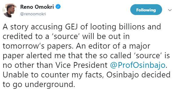 Reno Omokri accuses VP Yemi Osinbajo of sponsoring new reports of a