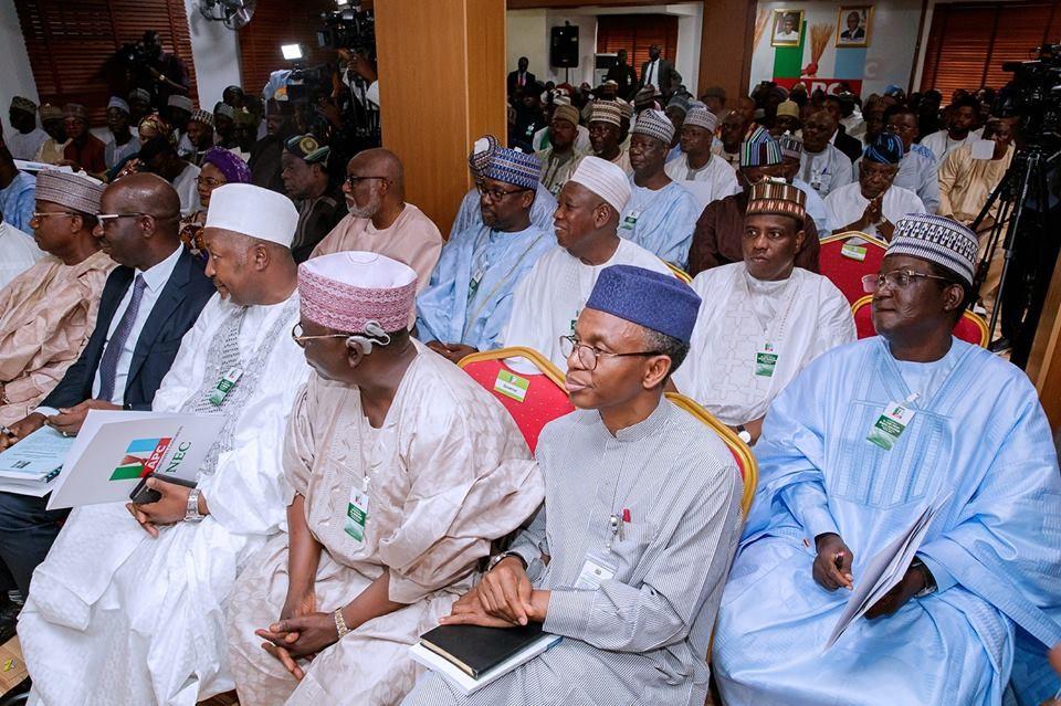 Photos: President Buhari, VP Yemi Osinbajo, others at APC NEC meeting