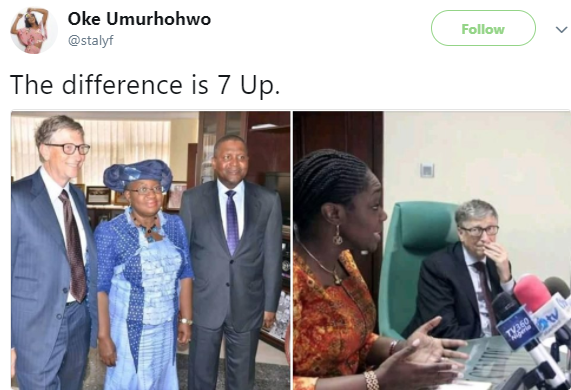 They are now comparing photos Bill Gates took with Ngozi Okonjo-Iweala and the one with Kemi Adeosun