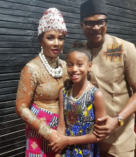 Friendly exes! Ibinabo Fiberesima and Fred Amata all smiles in new photo with their daughter, Zino