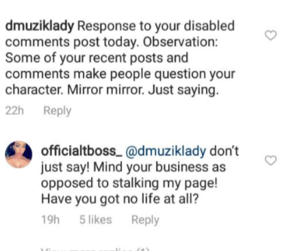 Ex BBN housemate, Tboss fight dirty with non-fans on IG over her father