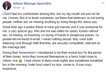 Facebook user recounts his experience while he was running errands for his pastor during his honeymoon