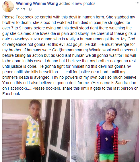 Facebook user mourns her brother who was allegedly stabbed to death by his girlfriend
