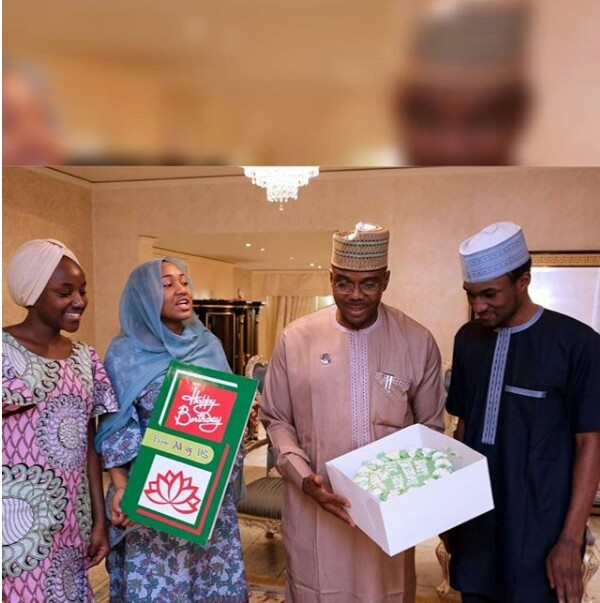 Photos: Yusuf Buhari and his siblings surprise their father