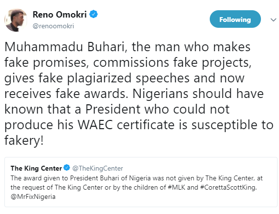 Reno Omokri reacts to Martin Luther King center distancing itself from the recent award given to President Buhari