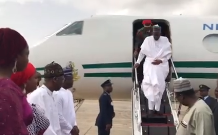 Photos: President Buhari arrives Lagos for his two-day state visit