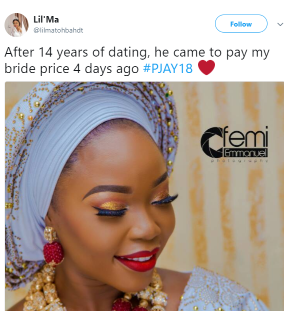 Nigerian lady ties the knot with her man after dating for 14 years