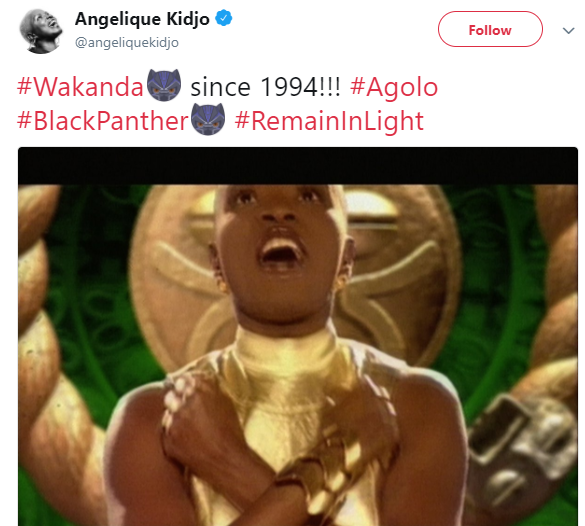 Throwback photo of Angelique Kidjo doing the Black Panther