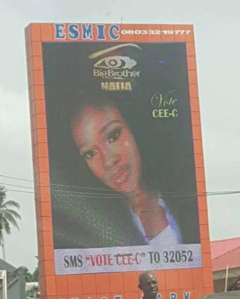Billboard of  #BBNaija housemate, CeeC spotted in Enugu State