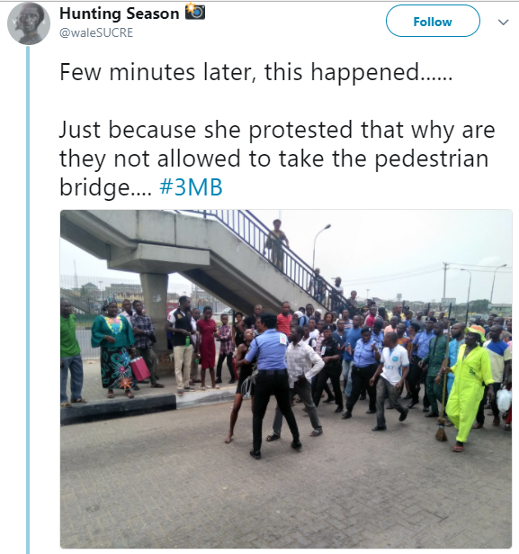 President Buhari In Lagos: Twitter user shares photos of how Lagosians were maltreated by Police