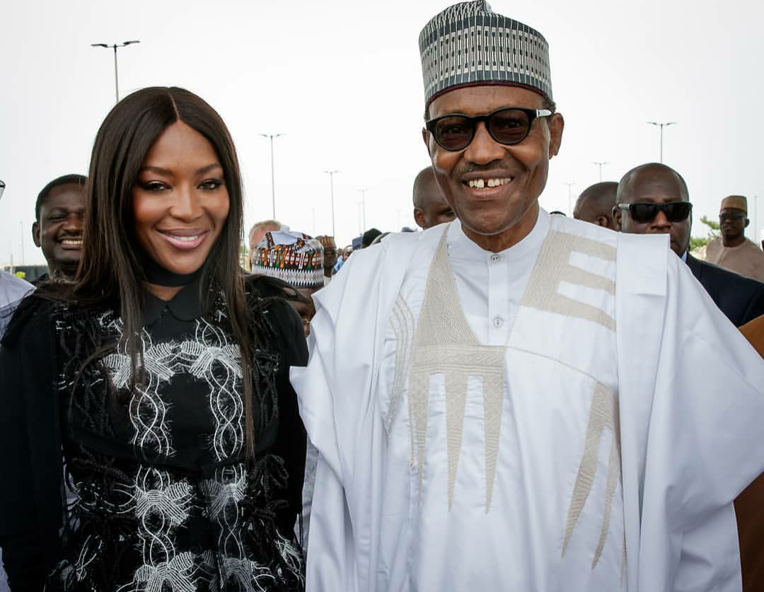 Photos: President Buhari meets supermodel, Naomi Campbell in lagos