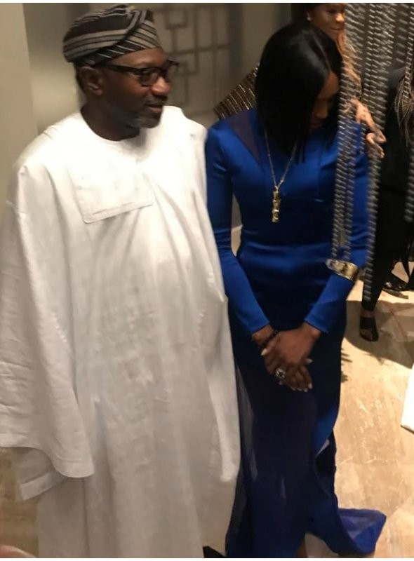 After meeting President Buhari, Naomi Campbell strikes a pose with Femi Otedola