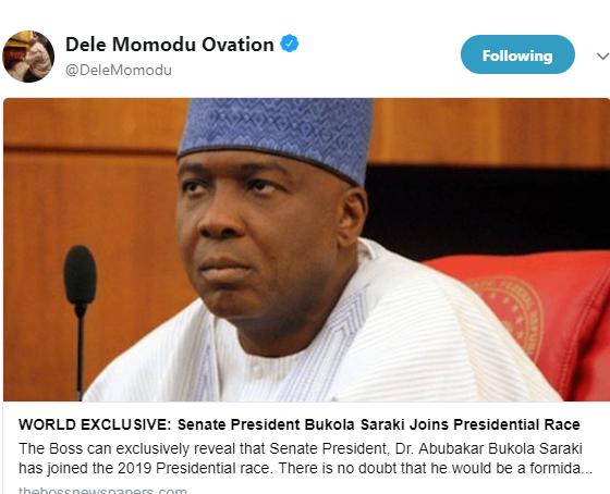 Senate President?Bukola Saraki, joins 2019 presidential race