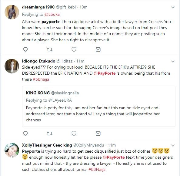 #BBNaija: See how Nigerians reacted to Cee-C ripping off Payporte outfit and calling it