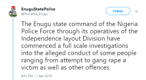 Enugu state Police command reacts to allegations of sexually harassment & rape at Flavour