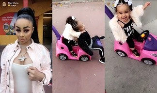 Blac Chyna attempts to fight unidentified lady while out at amusement park with her kids (videos)