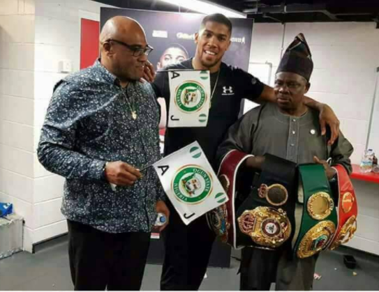 Ogun State governor, Ibikunle Amosun strikes meets Anthony Joshua after he defeated Joseph Parker