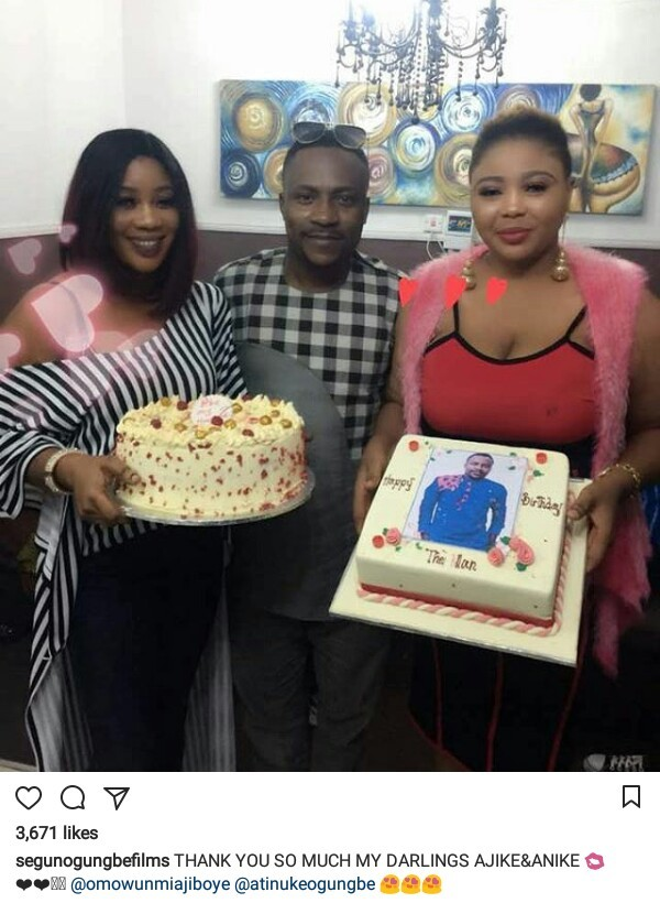 Photos: Nigerian actor, Segun Ogungbe celebrates birthday with his two wives who used to be close friends