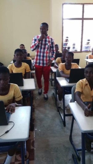 Microsoft donates laptops, mathematical sets, projector, printer and others to the Ghanaian school where a teacher drew Ms Word software on the board