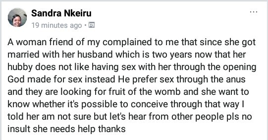 "Woman complains her husband ""does not like having sex with her through the opening God made for it"""
