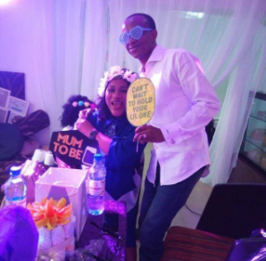 Sunmbo Adeoye shares a photo with her husband, Pastor David Adeoye at her baby shower