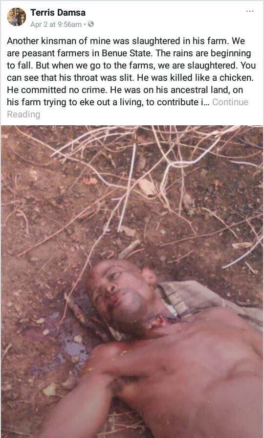 Photos: Fulani herdsmen slaughter Benue APC chieftain in his farm