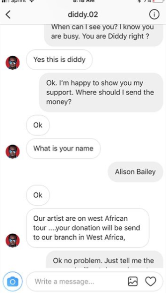 American author shares her hilarious chat with a Nigerian fraudster posing as Diddy