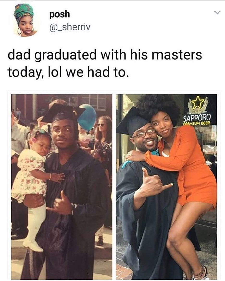 Lady recreates childhood photo with her dad after he obtains his masters degree