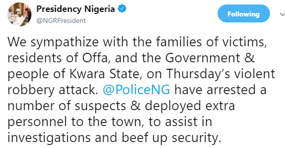 Presidency reacts to Offa robbery attack