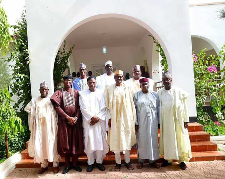 Photos: Senators pay President Buhari condolence visit