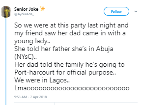 Twitter stories: Lady who lied to her parents and traveled to Lagos runs into her dad with his side chic after he also lied that he was in Port Harcourt