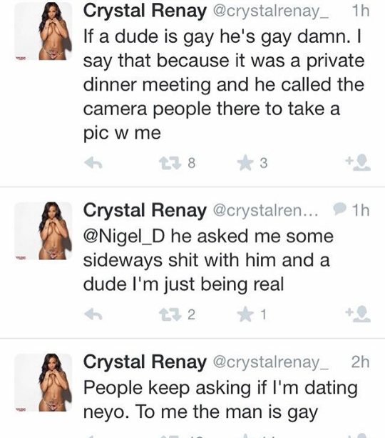 Lol. People dig up old tweets of Crystal Renay saying Neyo, who is now her husband, is gay