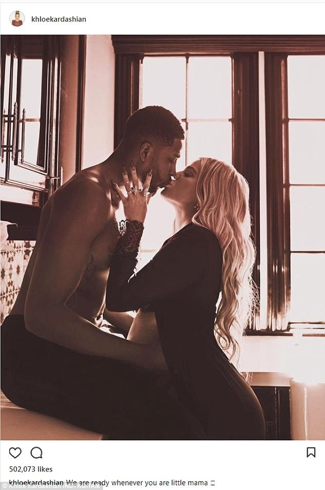 Look like pregnant Khloe Kardashian is due anytime soon as she shares kissing photo with Tristan Thompson