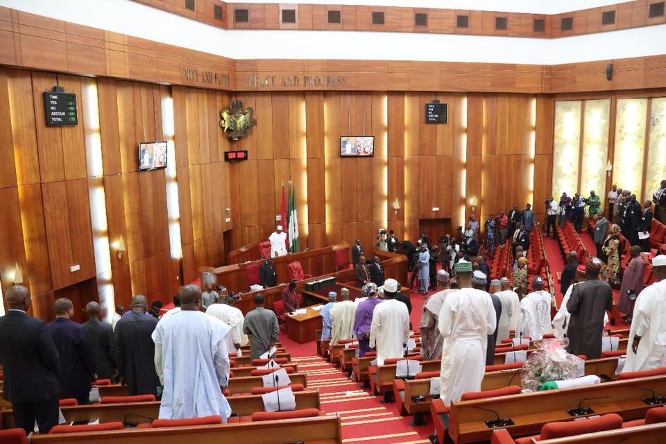 Photos: Senators observe one minute silence in honor of late colleagues, Mustapha Bukar, Umar Jibril