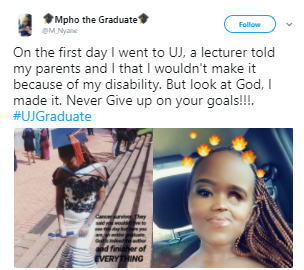 Physically challenged South African cancer survivor celebrates her graduation after she was told by her lecturers that she won