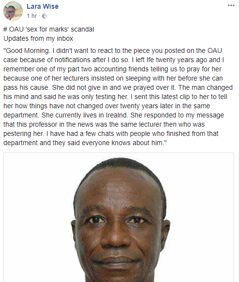 OAU graduate alleges Professor Richard Akindele also asked her for sex when she was his student 20 years ago
