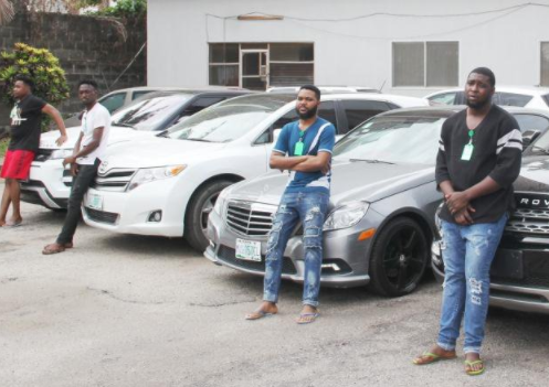 EFCC arrests 4 suspected yahoo-yahoo boys in?Lekki area?for alleged cyber-crime and charms were part of the items recovered from them (photos)