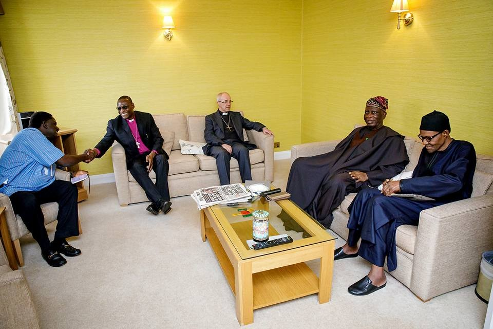 First photos of President?Buhari in London as he receives Archbishop of Canterbury and High Commissioner of Nigeria to United Kingdom