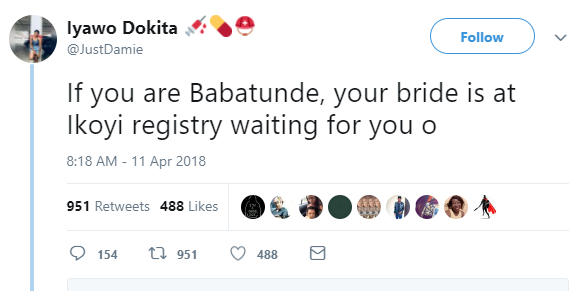 Twitter stories: Man fails to show up at his wedding today at Ikoyi registry, switches off both phones