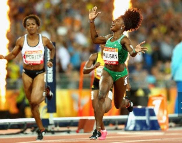 Nigerian sprinter, Oluwatobilolba Amusa, makes history as first Nigerian to win 100m hurdles at commonwealth games (photos/video)