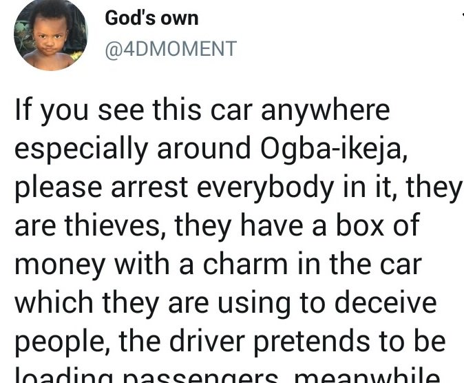 Twitter user narrates experience with fraudsters posing as taxi driver and passengers
