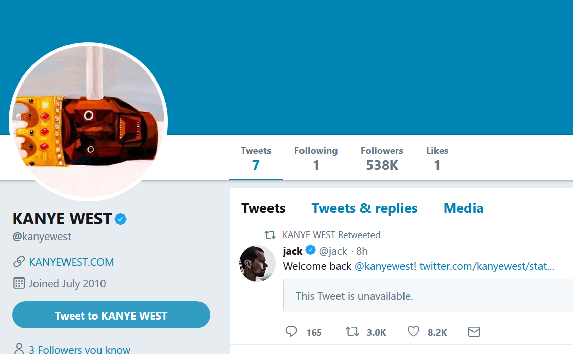 Kanye West returns to Twitter for first time in almost a year and deletes his old tweets