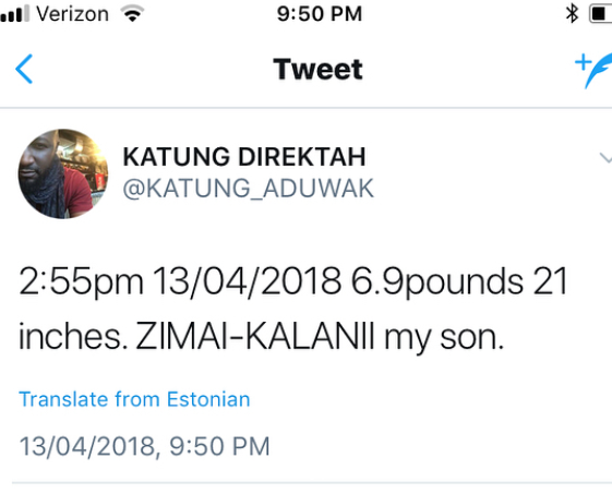 Winner of the first Big Brother Naija, Katung Uduwak welcomes son