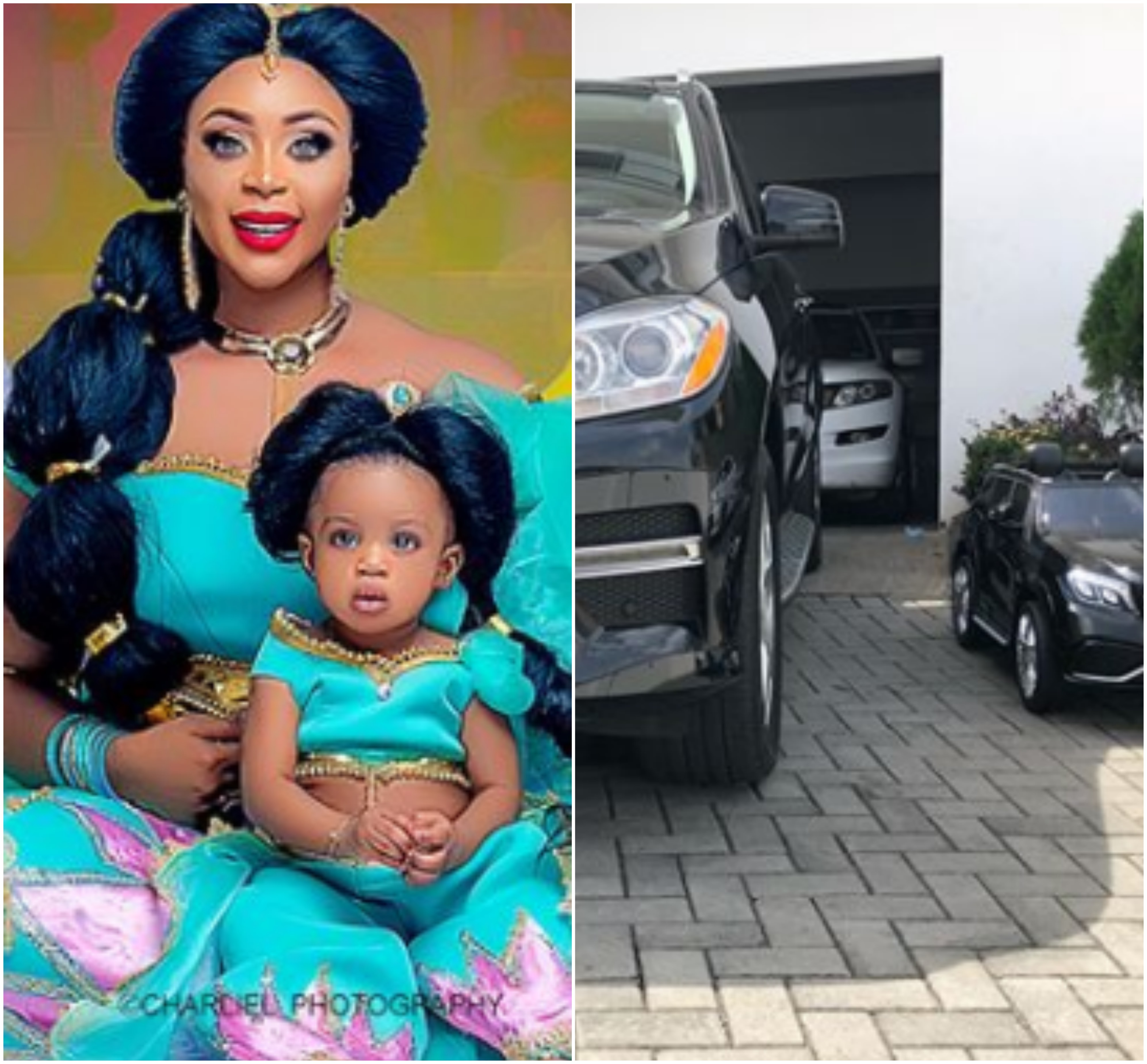 Actress Mimi Orjiekwe splashes millions of Naira on Mercedes Benz cars for herself and her one year old daughter Jasmine(photos)
