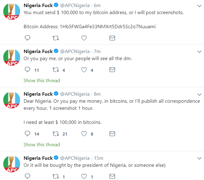 If the president of Nigeria does not pay me $100k, I